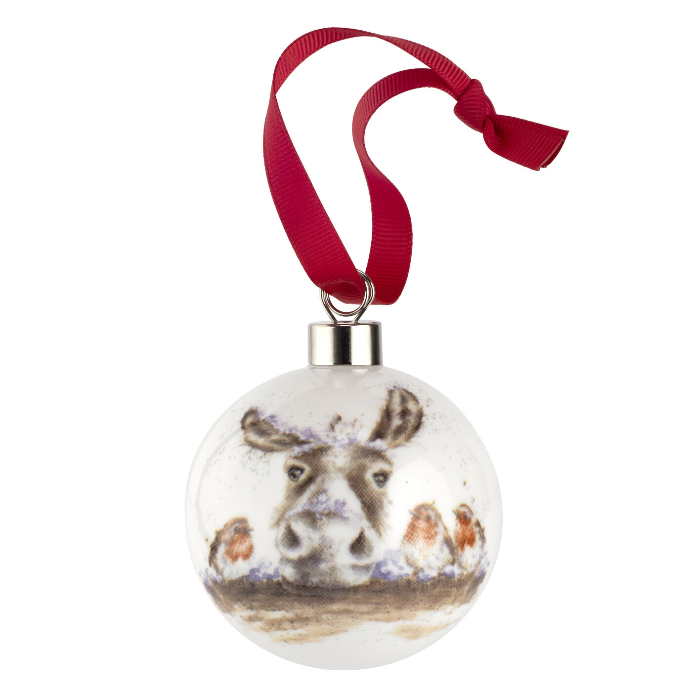 Royal Worcester Wrendale Designs Christmas Donkey Bauble (Robin) image number 0