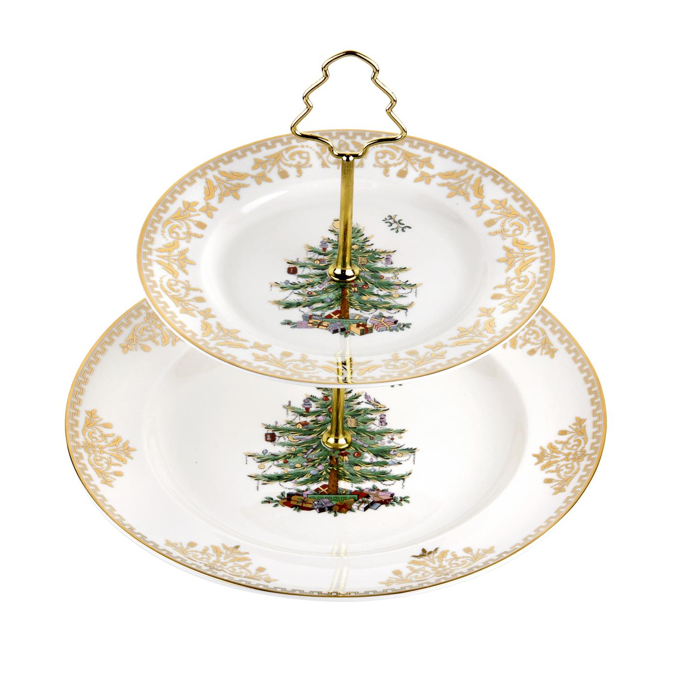Spode Christmas Tree Gold Collection 2-Tier Cake Stand image number 0