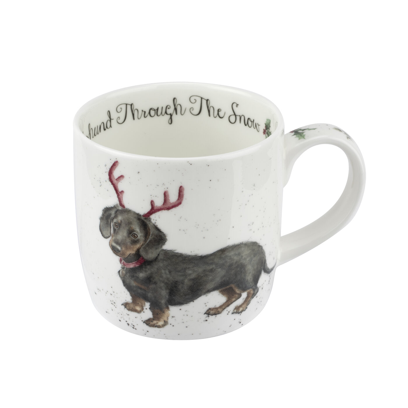 Royal Worcester Wrendale Designs 11 oz Mug & Coaster Set Dachshund Through The Snow image number 1