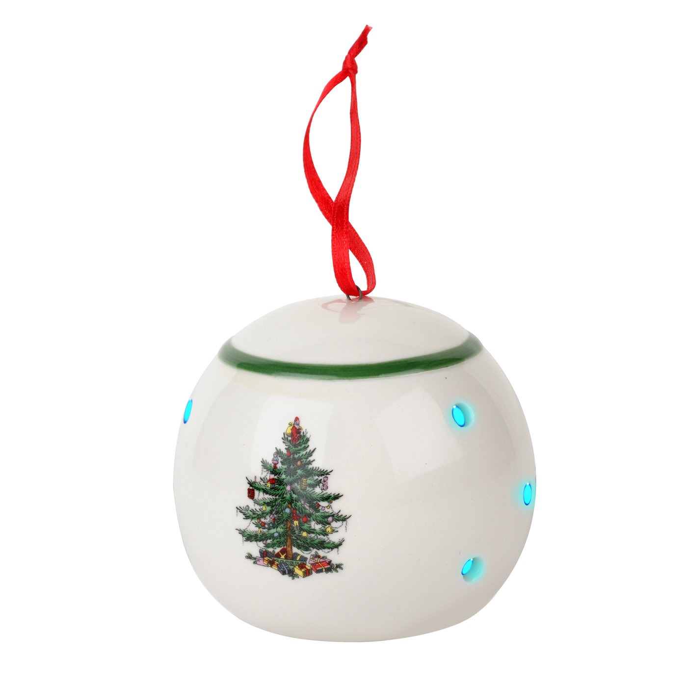 Spode Christmas Tree Multicolor LED Bauble Ornament image number 0