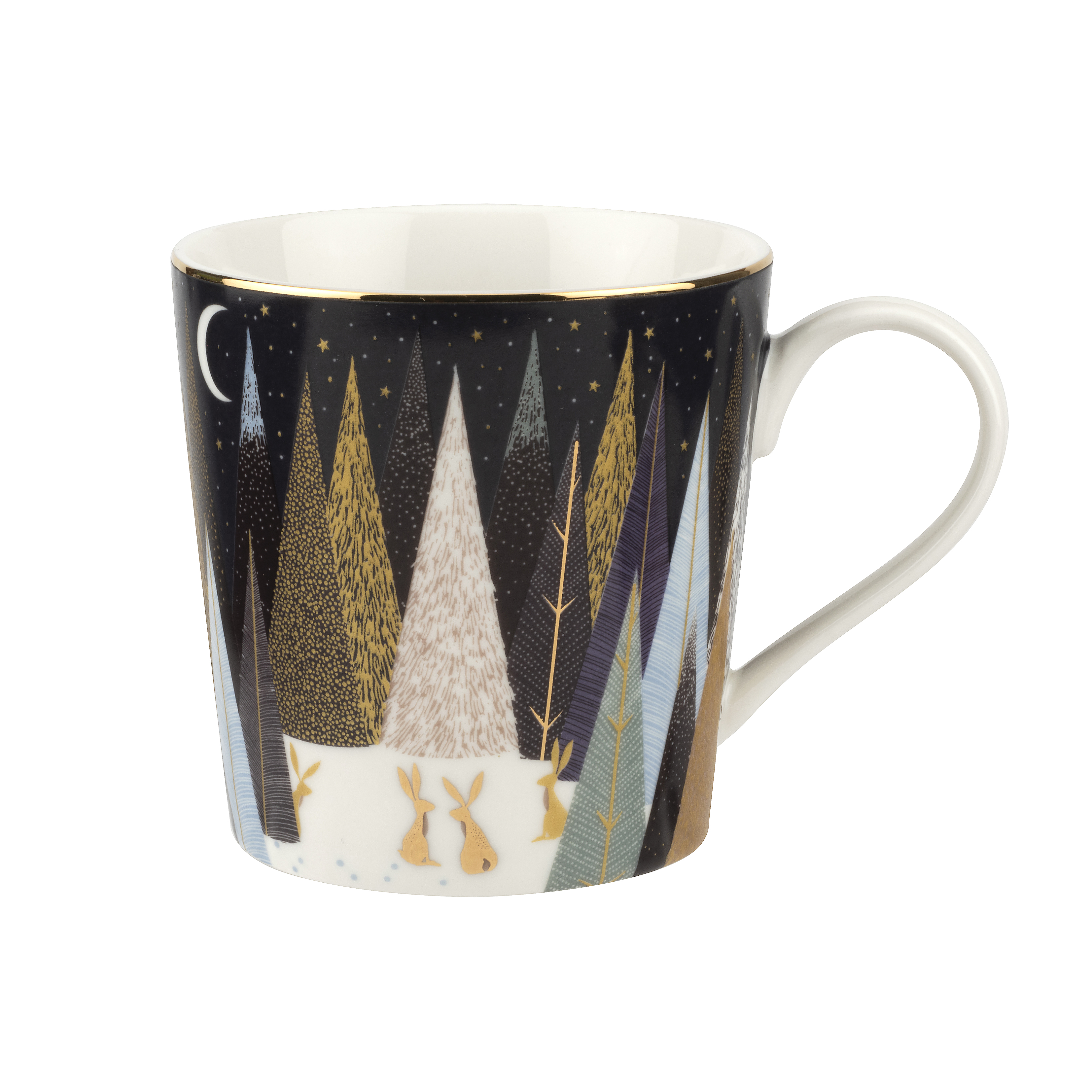Sara Miller London for Portmeirion Frosted Pines Set of 4 Mugs 12 oz image number 1