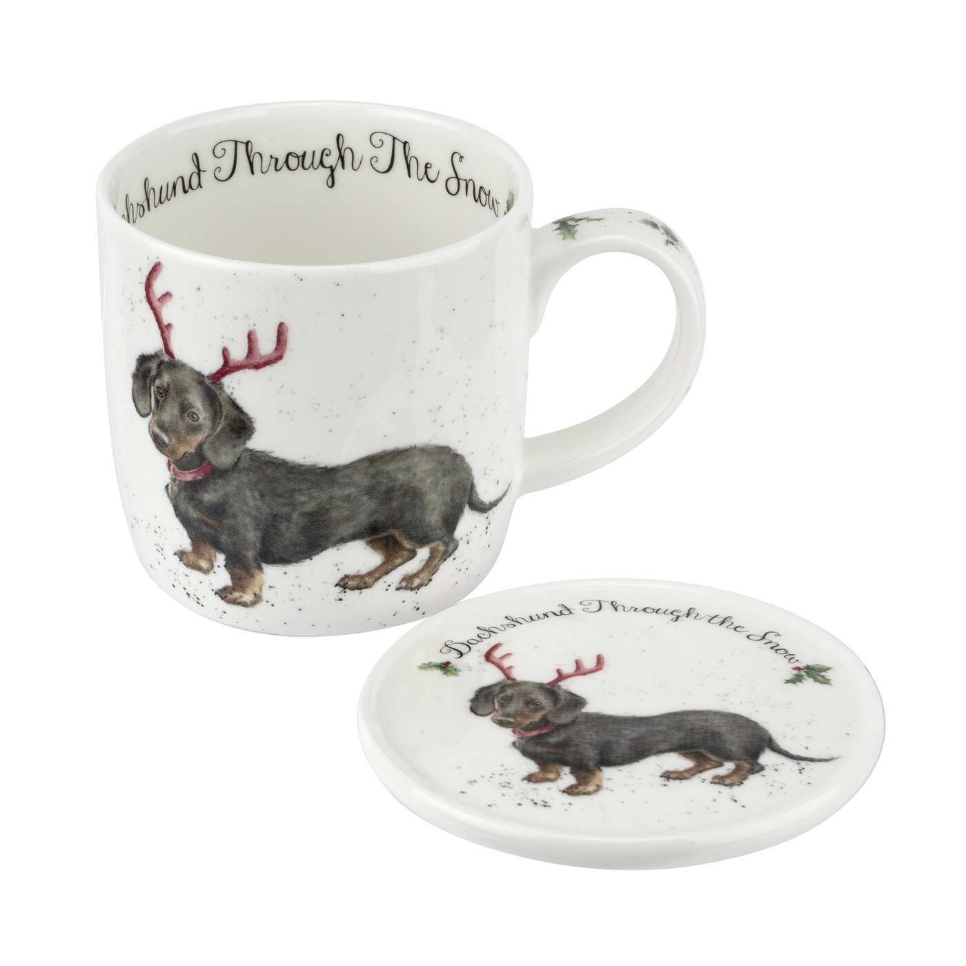 Royal Worcester Wrendale Designs 11 oz Mug & Coaster Set Dachshund Through The Snow image number 0