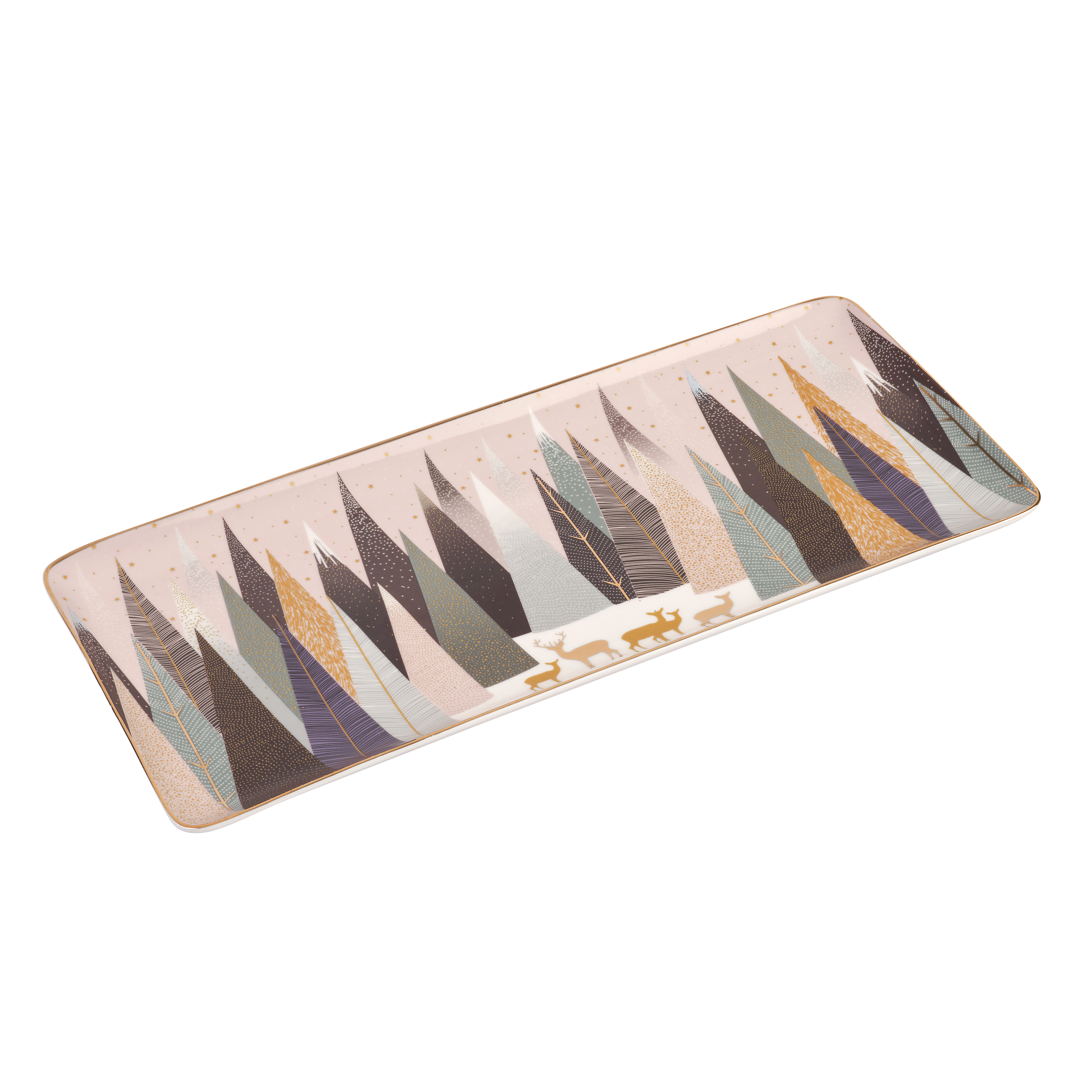 Sara Miller London for Portmeirion Frosted Pines 14 Inch Sandwich Tray image number 1