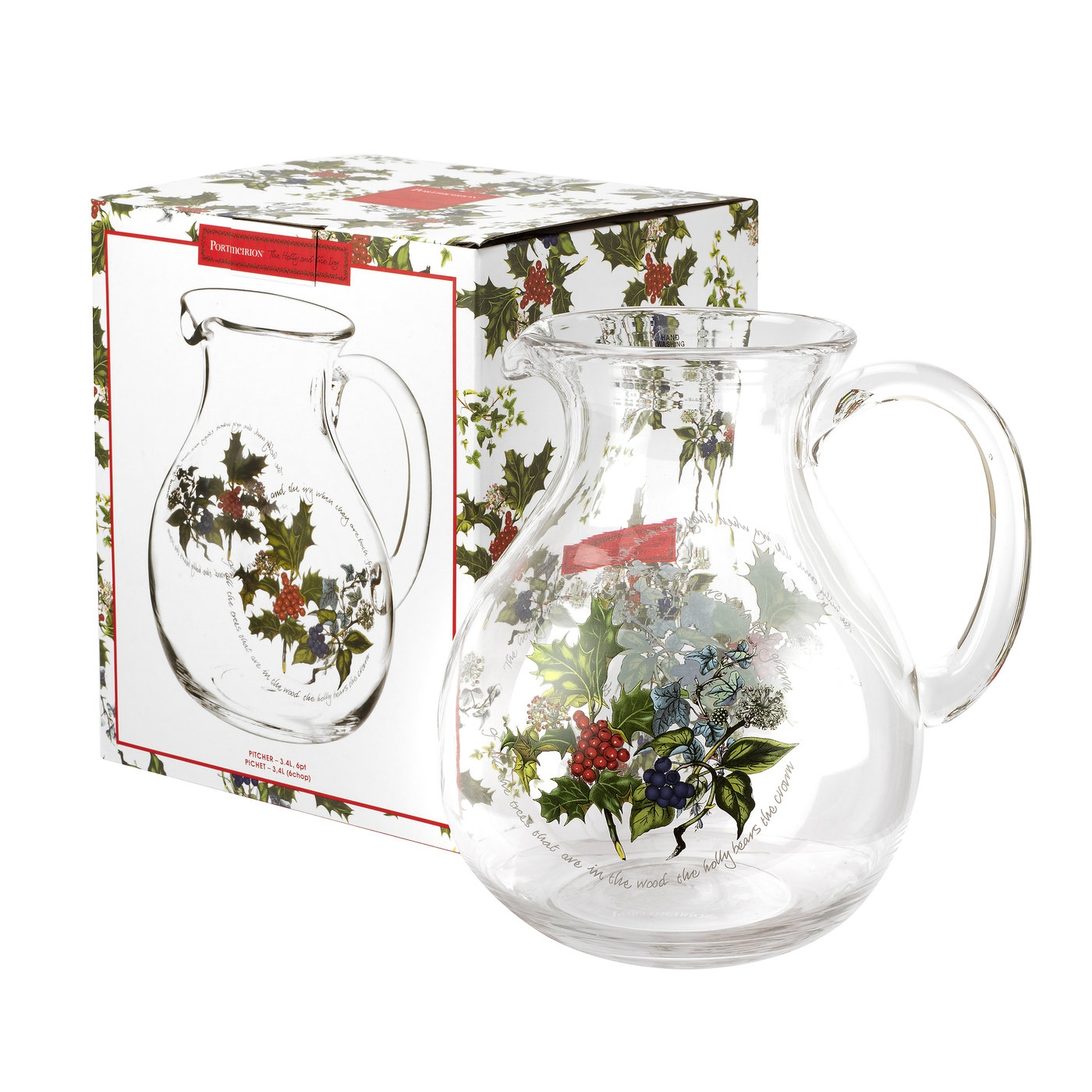 Portmeirion The Holly and The Ivy Glass Pitcher image number 0