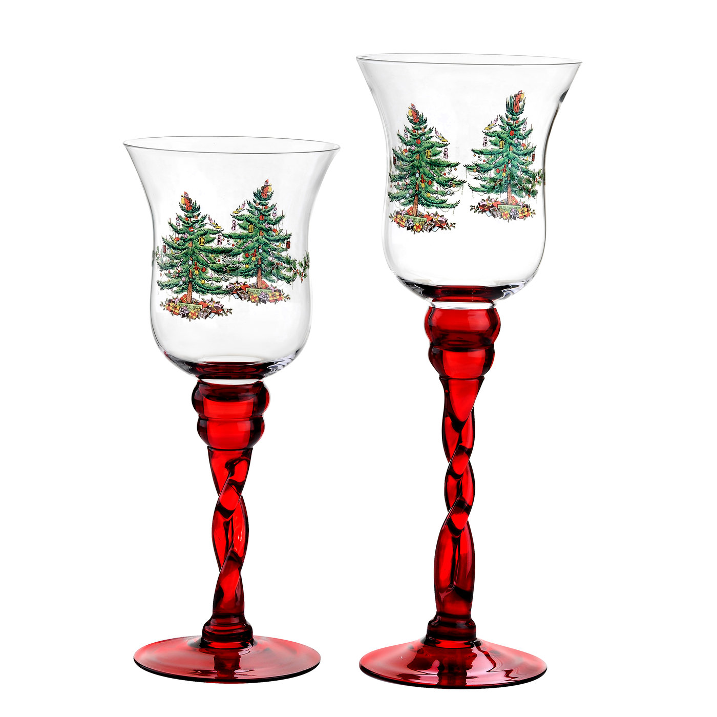Spode Christmas Tree Red-Stem Fluted Footed Glass Candle Holders Set of 2 image number 0