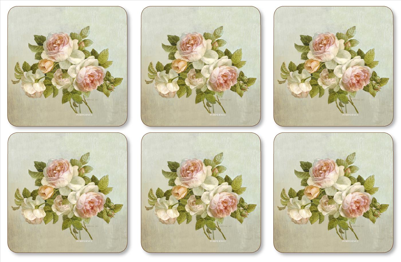 Pimpernel Antique Roses Coasters Set of 6 image number 0