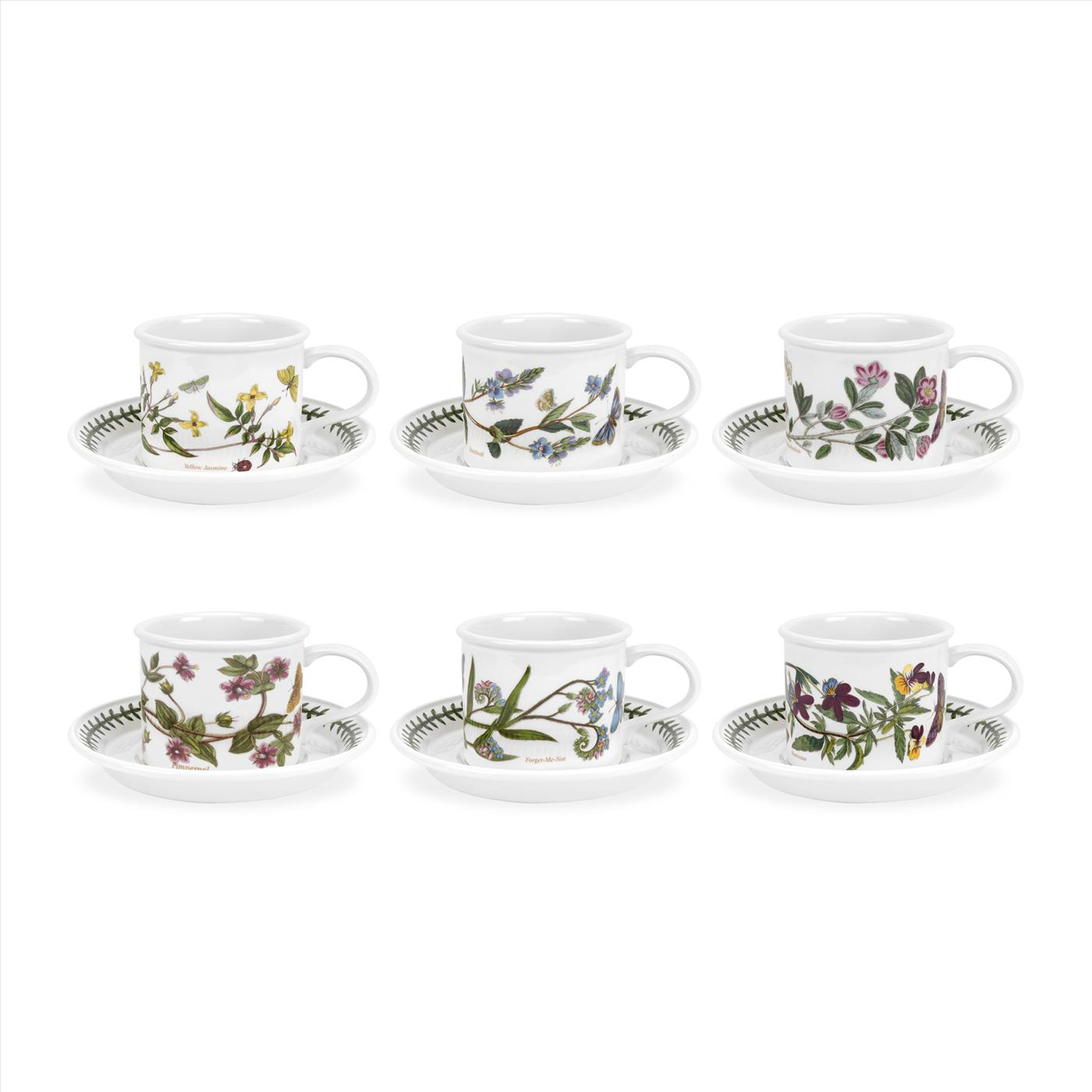 Botanic Garden Set of 6 Breakfast Cups & Saucers (D) Assorted Motifs image number 0