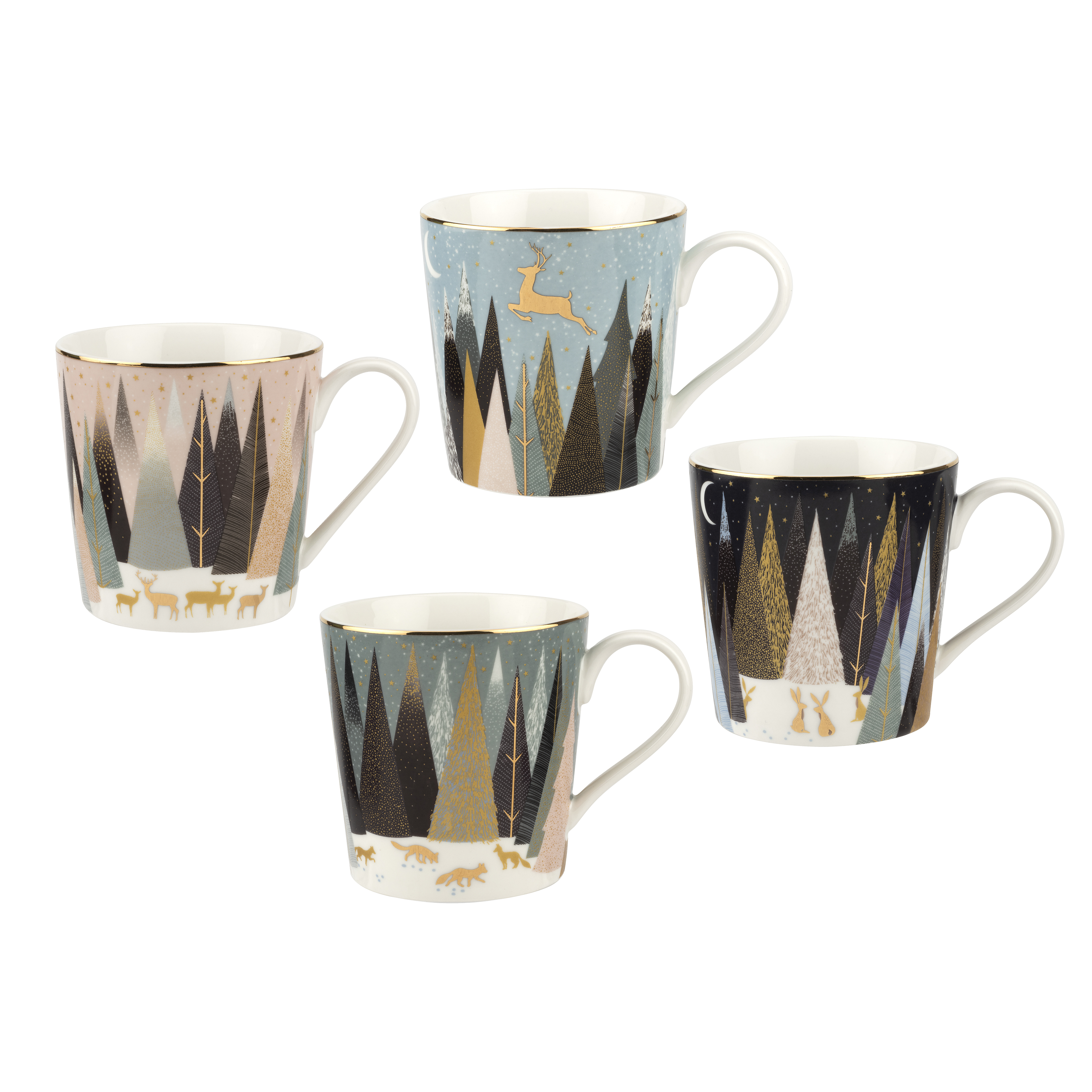 Sara Miller London for Portmeirion Frosted Pines Set of 4 Mugs 12 oz image number 0