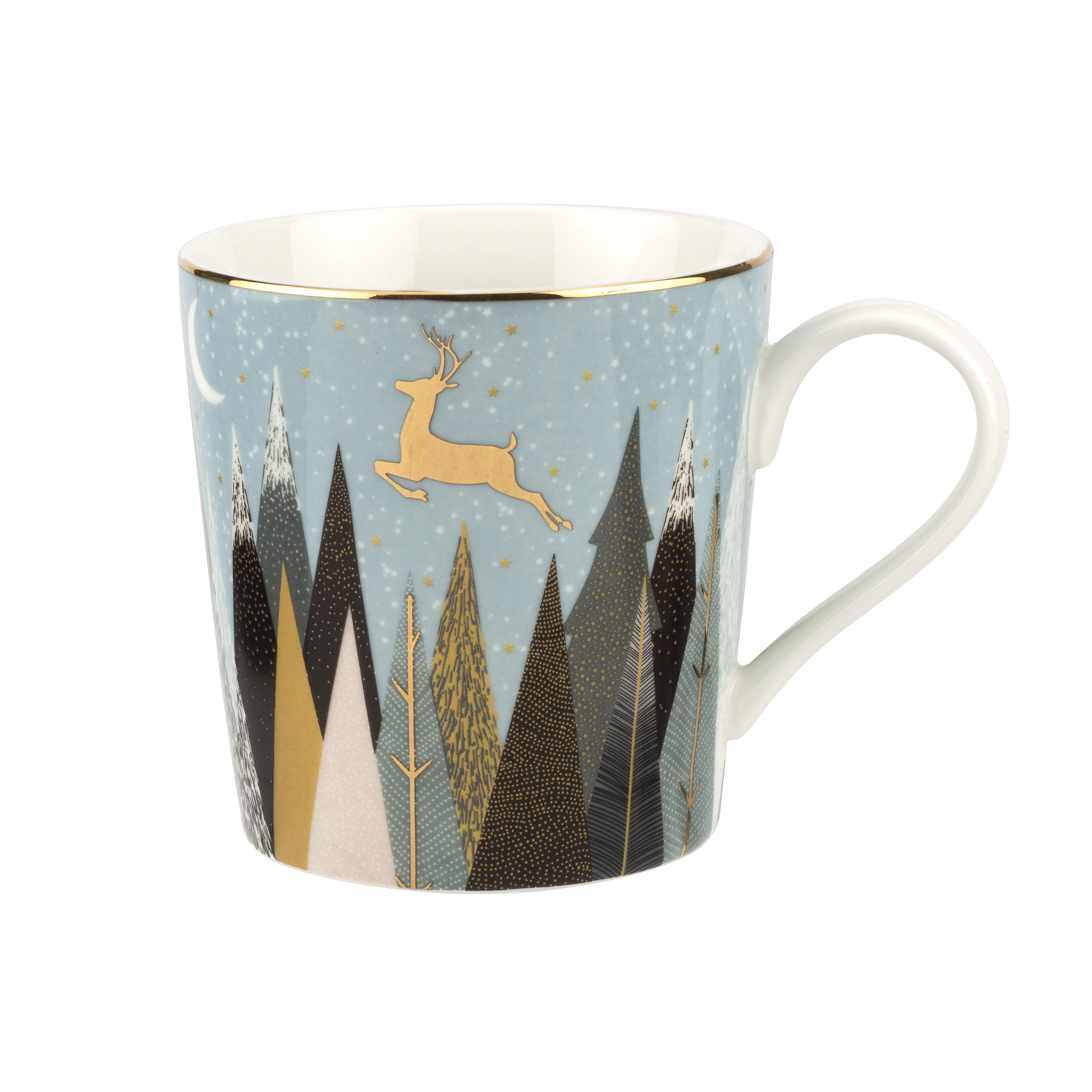 Sara Miller London for Portmeirion Frosted Pines Set of 4 Mugs 12 oz image number 2