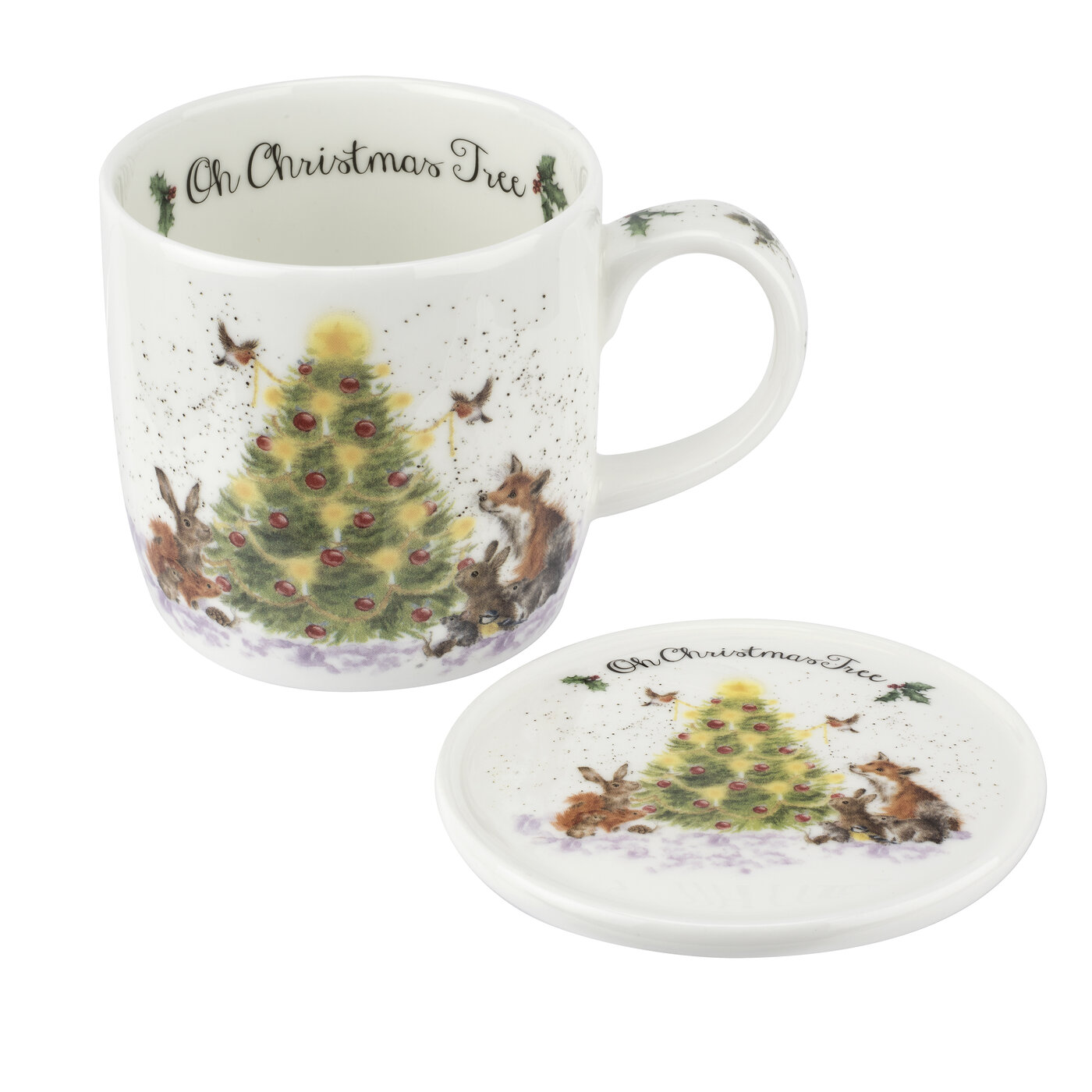 Royal Worcester Wrendale Designs 11 oz Mug & Coaster Set Oh Christmas Tree (Woodland Friends) image number 0