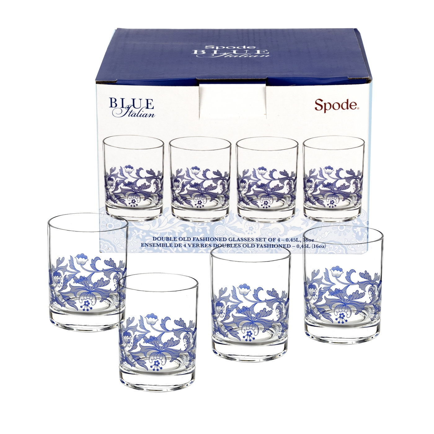 Spode Blue Italian Set of 4 Double Old Fashioned Glasses image number 0