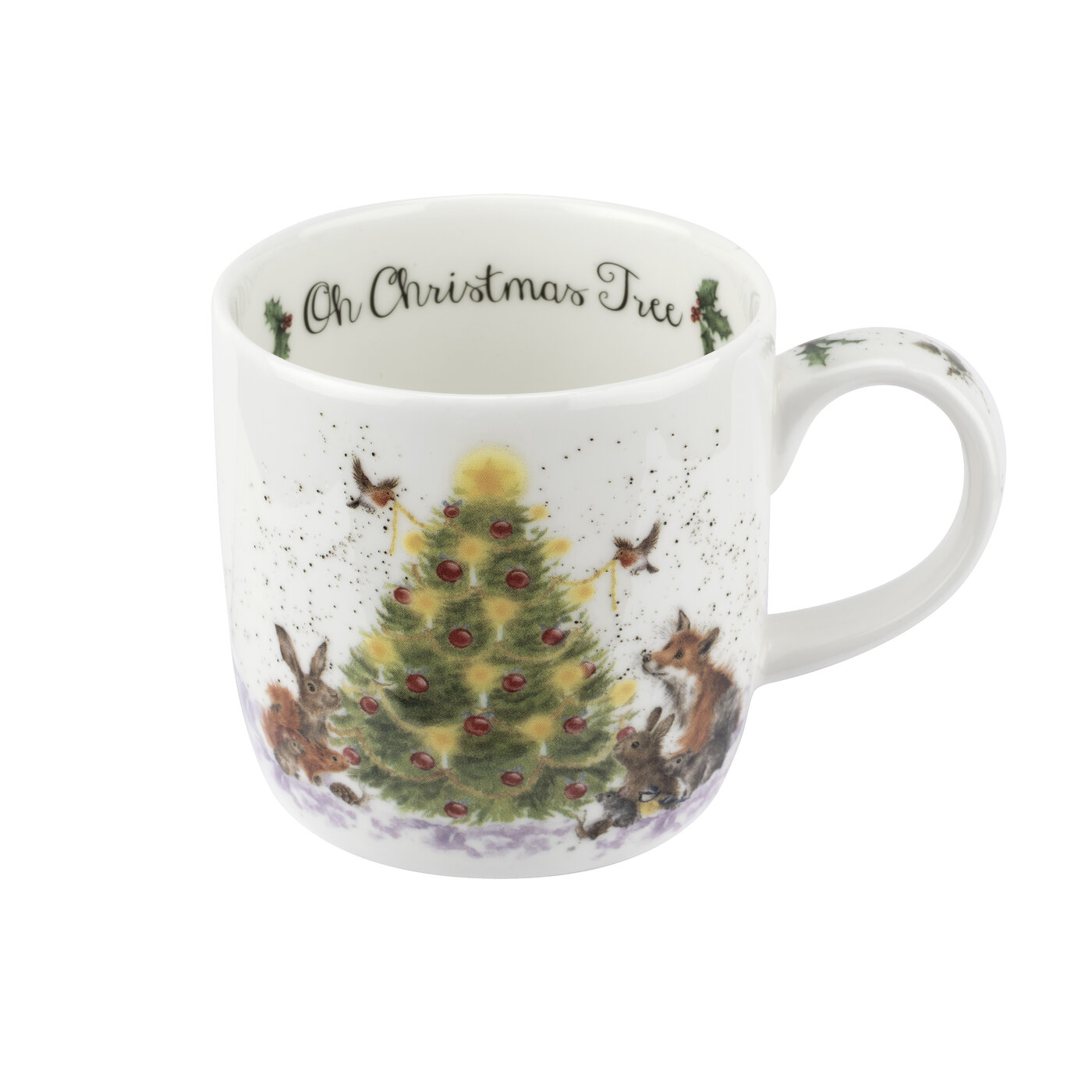 Royal Worcester Wrendale Designs 11 oz Mug & Coaster Set Oh Christmas Tree (Woodland Friends) image number 1