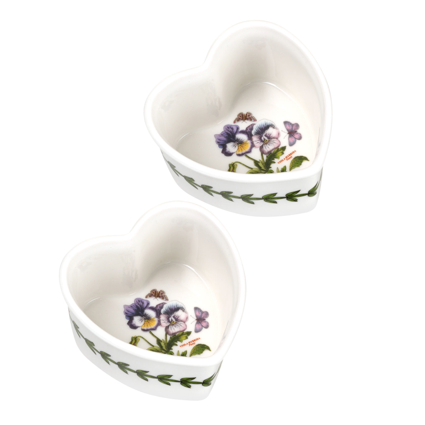 Botanic Garden Set of 2 Heart-Shaped Ramekins (Pansy) image number 0