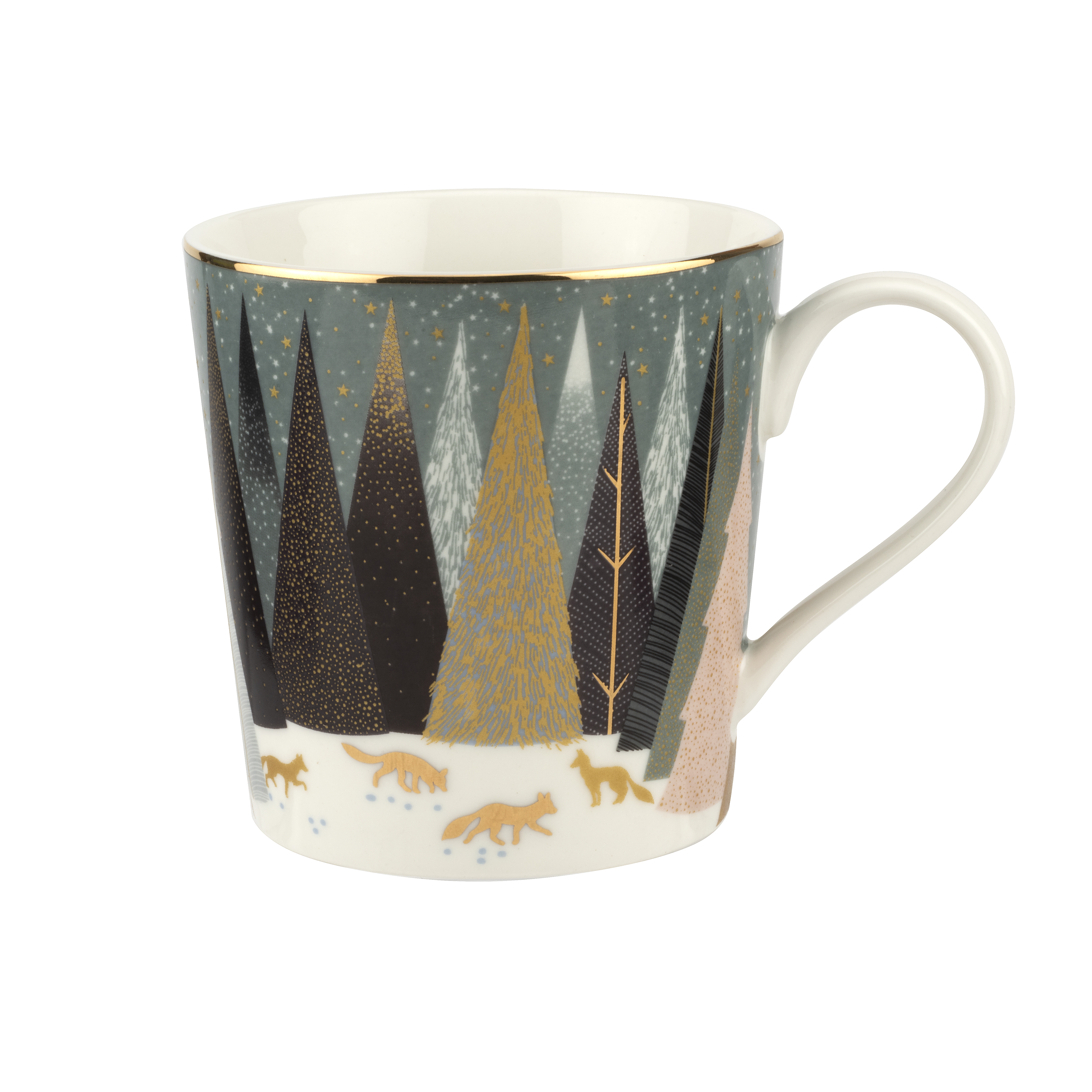 Sara Miller London for Portmeirion Frosted Pines Set of 4 Mugs 12 oz image number 4