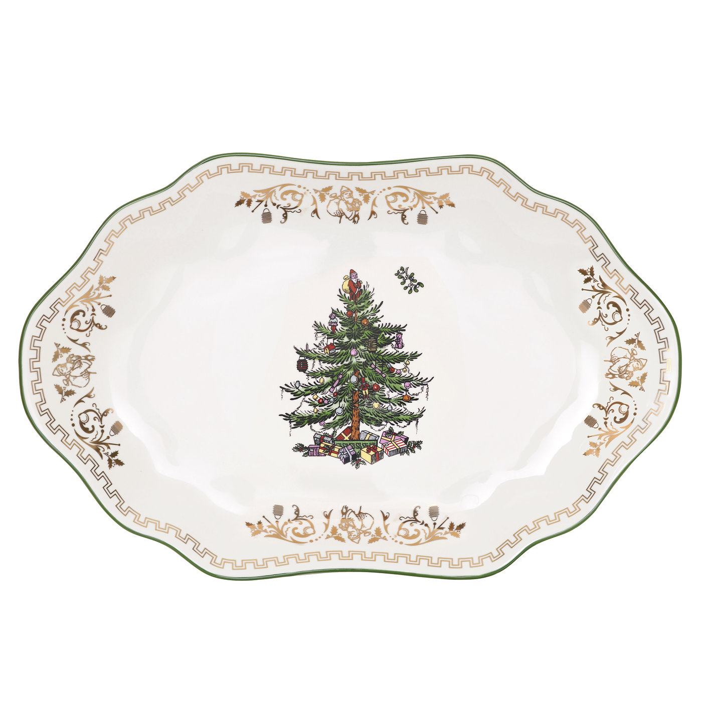 Spode Christmas Tree Gold Collection Medium Oval Platter image number 0