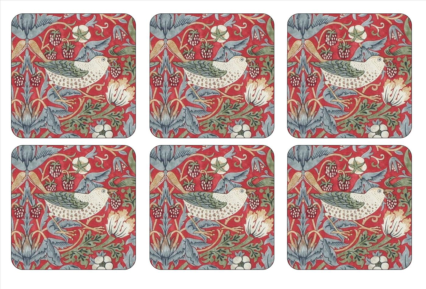 Morris and Co for Pimpernel Strawberry Thief Red Coasters Set of 6 image number 0