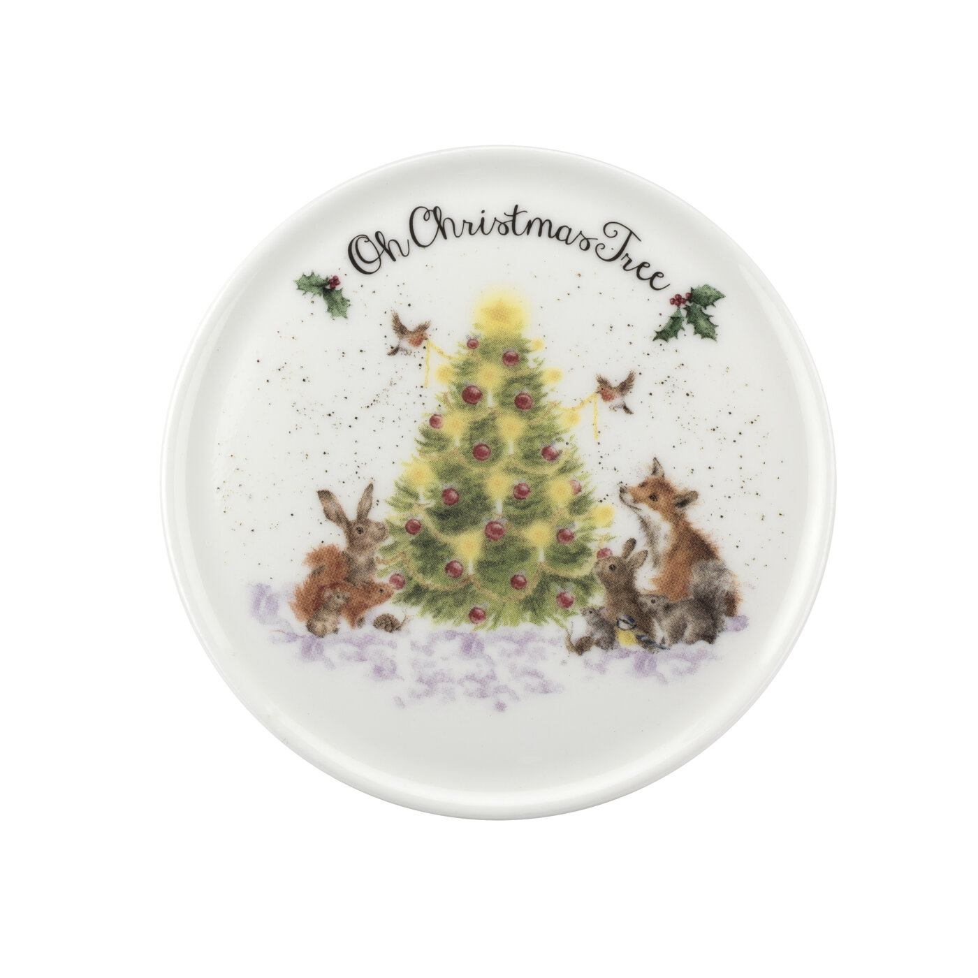 Royal Worcester Wrendale Designs 11 oz Mug & Coaster Set Oh Christmas Tree (Woodland Friends) image number 2