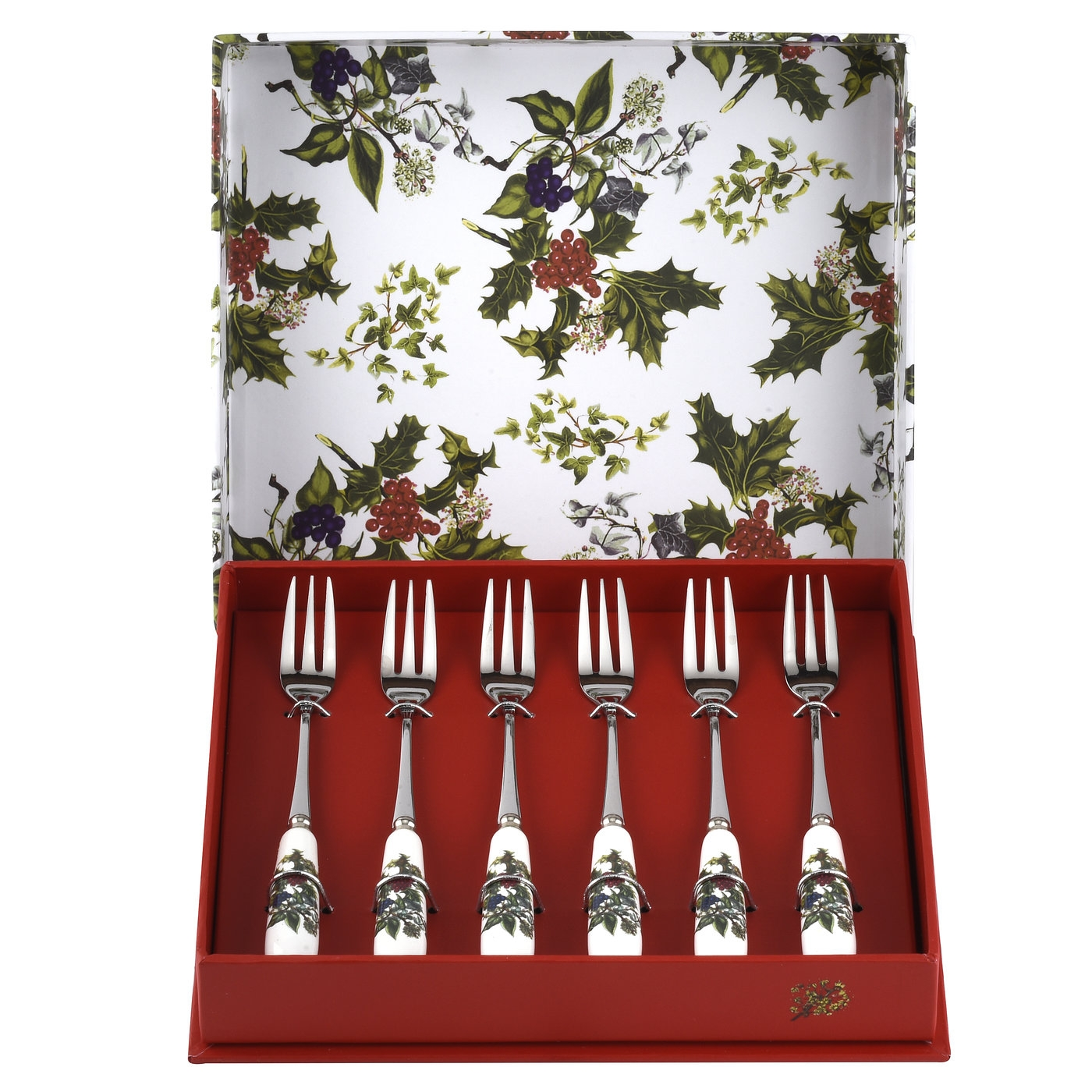 Portmeirion The Holly and The Ivy Set of 6 Pastry Forks image number 0