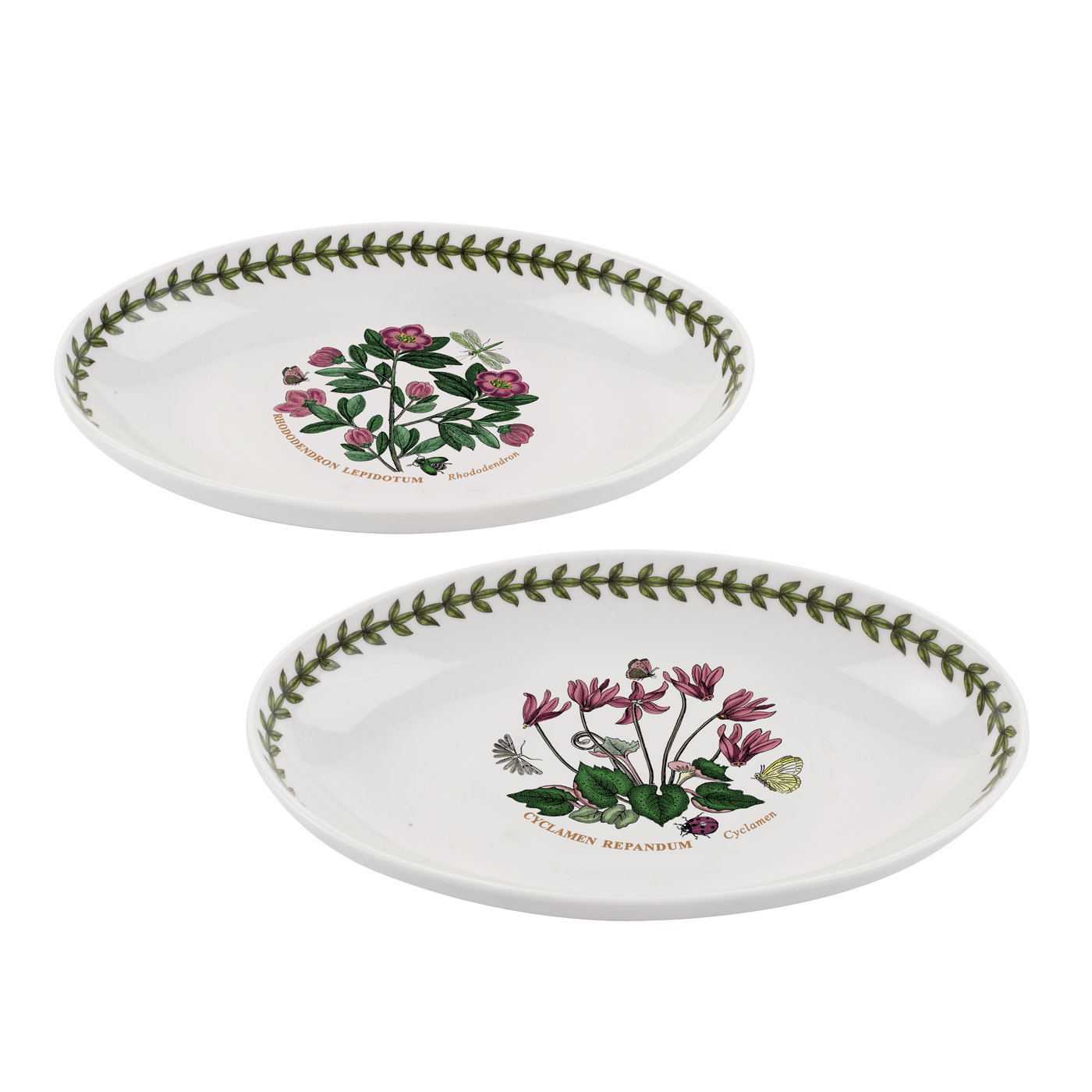 Botanic Garden Set of 2 Oval Dishes (Cyclamen/Rhododendron) image number 0