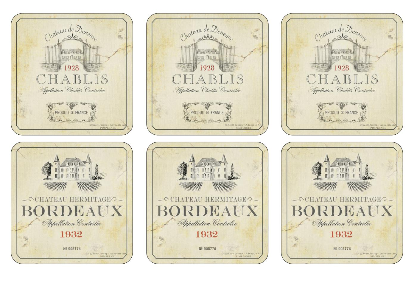 Pimpernel Vin de France Coasters Set of 6 image number 0