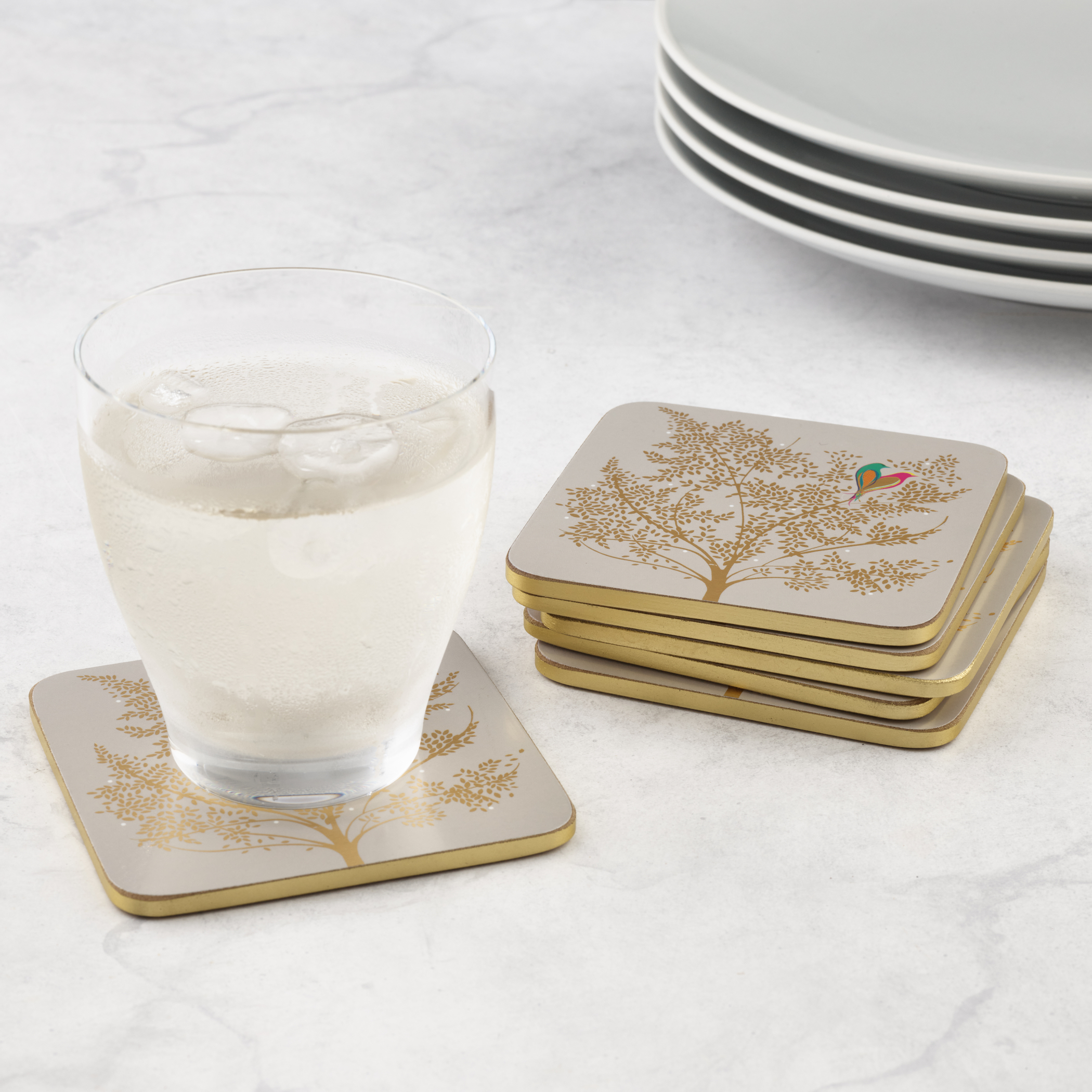 Sara Miller London for Pimpernel Chelsea Collection Coasters Set of 6 Light Grey image number 4