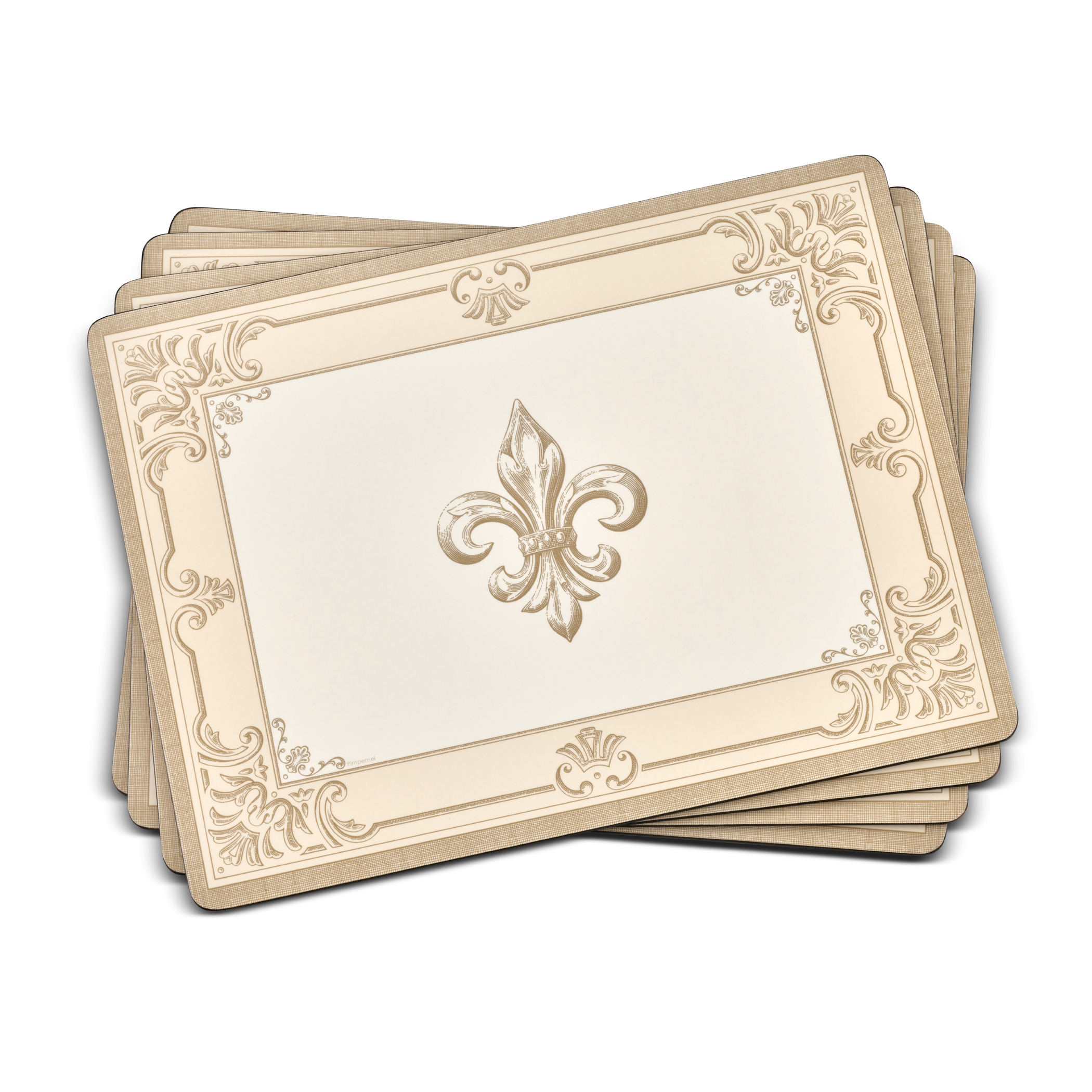 Pimpernel FDC-Fleur de Lys Taupe/Gold Placemats Set of 4 image number 0